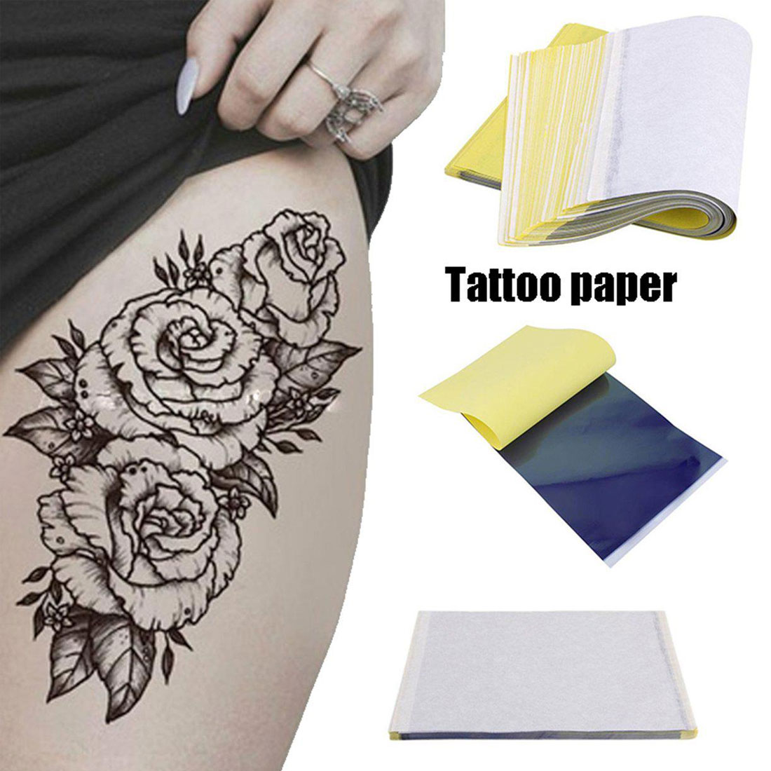 5Pcs/Lot 4 Layer Carbon Thermal Stencil Tattoo Transfer Paper Copy Paper Tracing Paper Professional Tattoo Body Tattoo Stickers
