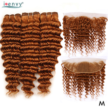 Brazilian Deep Wave Bundles With Frontal Closure Colored Bundles With 13x4 Lace Closure Ginger Blonde Remy Human Hair Bundles