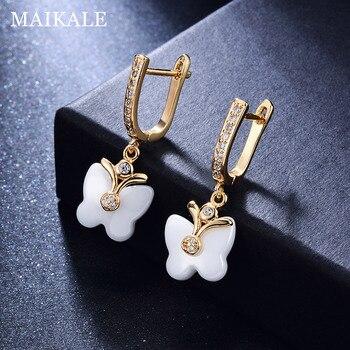 MAIKALE Cute Butterfly Shape Ceramic Earrings Cubic Zirconia Golden/Silver Dangle Drop Earrings for Women Fashion Jewelry Gifts 2