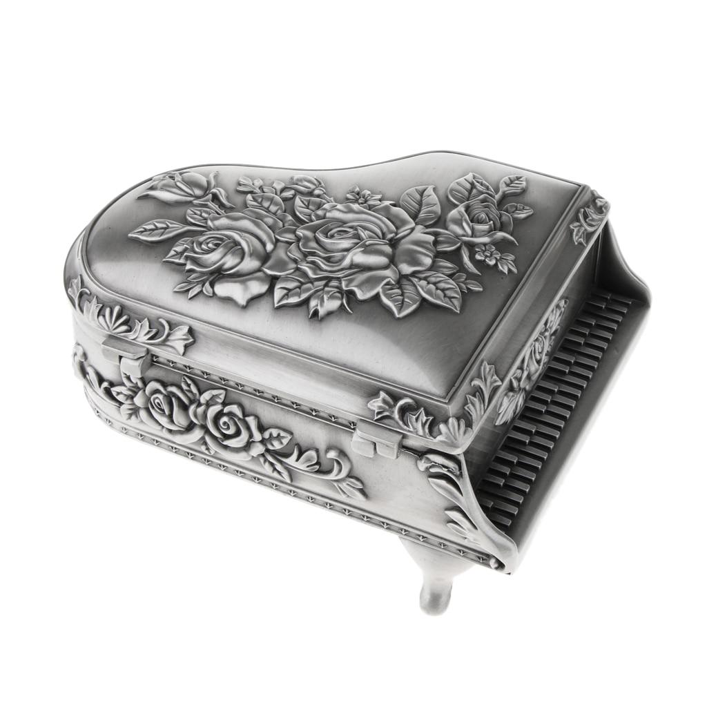 Piano Zinc Alloy Rose Flower Pattern Jewelry Trinkets Showcase Storage Box