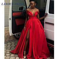 African Girls Sexy Deep V Neck Prom Dresses Off Shoulder Beads Side Split robe de gala A Line Women Dress Evening Party Prom Top