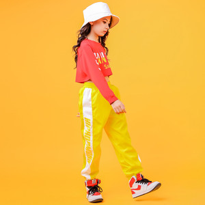 Image 4 - 2019 Childrens Jazz Dance Costumes Girls Hip Hop Wear White sweatershirt Yellow Pants Street Dance Performance Clothings