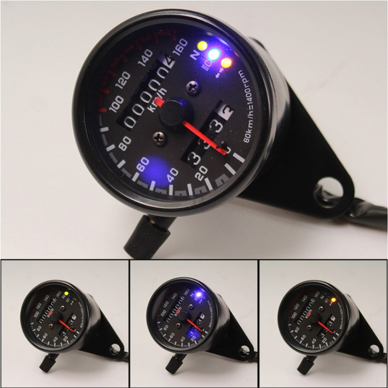 Universal Digital Motorcycle Speedometer Odometer Techometer Gauge Dual Speed LCD Screen image