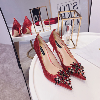 Red wedding shoes women's new clothes Chinese pointed high heels women's Wedding Bridal Shoes thin heel crystal shoes