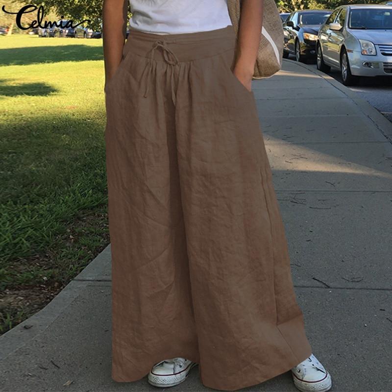 Celmia 2020 Fashion Women Wide Leg Pants High Waist Cotton Linen Palazzo Casual Loose Trousers Vintage Pantalon Femme Plus Size