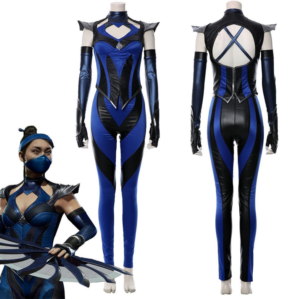 Mortal Kombat 11 Cosplay Kitana Costume Outfit Suit Jumpsuit