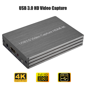 4K 2K USB3.0 HDMI to HDMI Game Capture Card Grabber 1080P HD Video Recording Recorder for OBS Game Live Broadcast Box