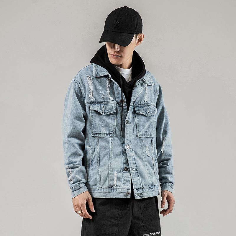 Mens Solid Denim Jacket Fashion Bomber Jacket Men's Ripped Jean Jackets Hip Hop Streetwear Casual Coats Chaqueta Hombre  5XL