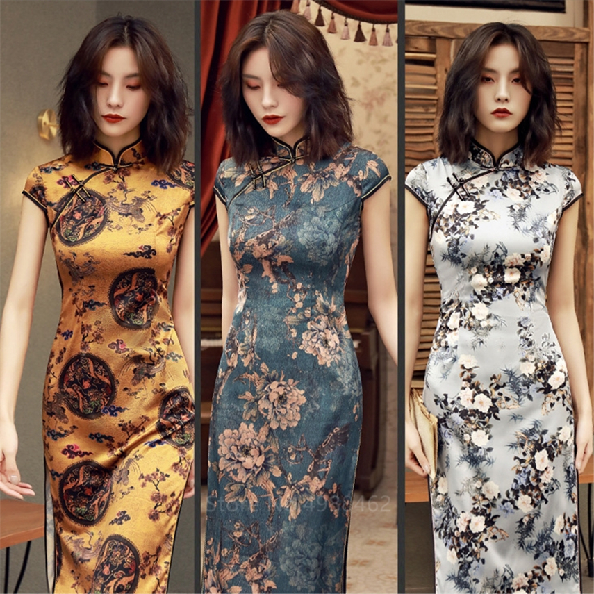 Chinese Traditional Dress Cheongsam Qipao Women Girls Party Wedding Fashion Vintage Retro Crane Floral Print Satin Short Dress