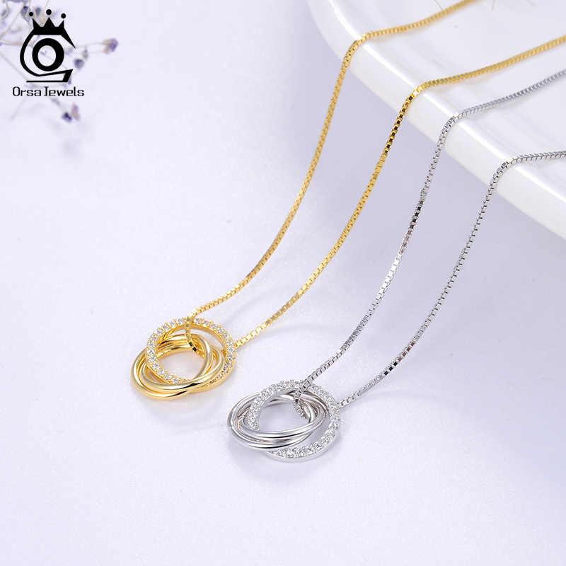 Orsa jóias na moda simples colar 925 prata esterlina feminino colares com 3 grande círculo aaaa zircon jóias presente de casamento osn175