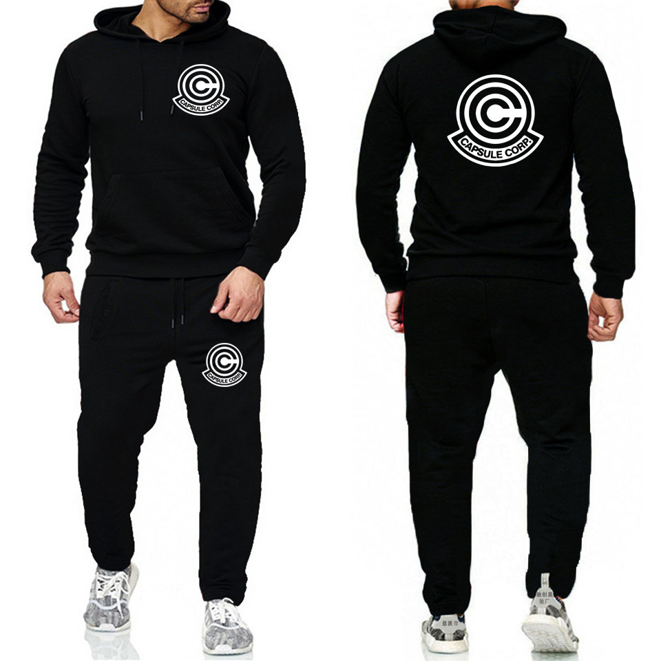 2019 MEN'S Hoodie Set Goku Printed Fleece Sports Clothing Set Autumn And Winter Fashion Hoodie Sweatpants