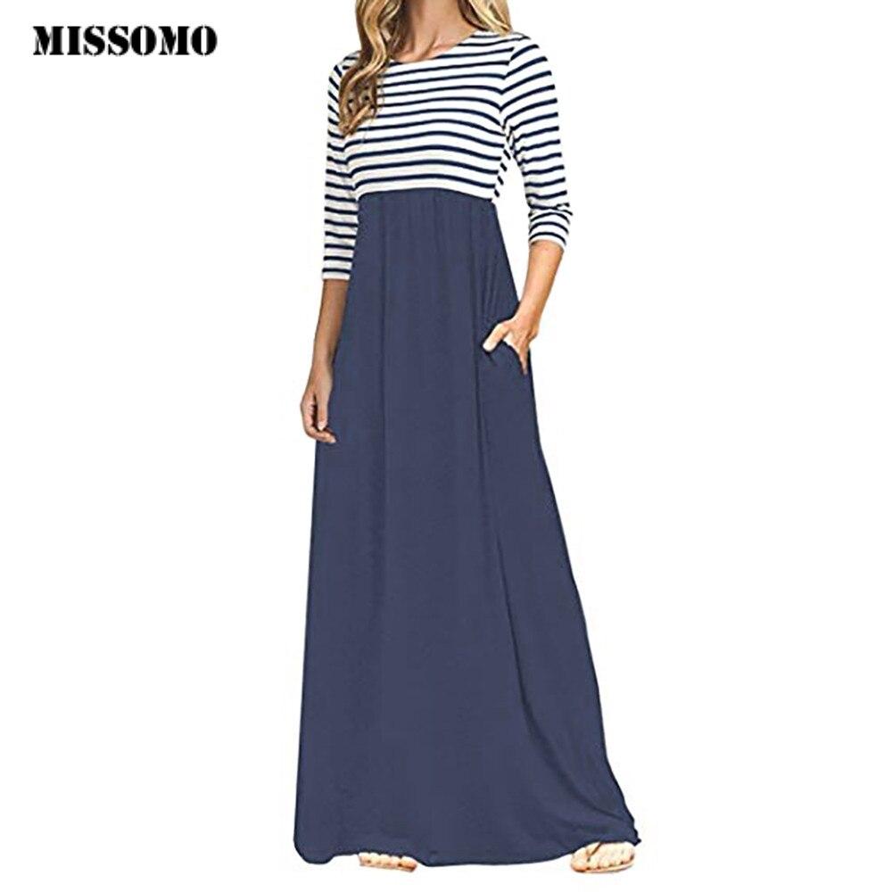 MISSOMO Summer Dress Women Causal Vestidos Stripe Long Sleeve High Waist Boho Long Maxi Dress Plus Size With Pockets Wholesale 7