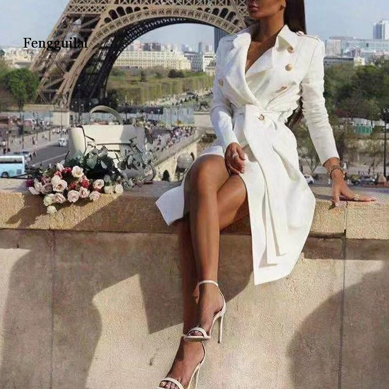 Vintage Double Breasted White Trench Women Coat Sashes Slim Long Trench Female Winter Office Solid Trench