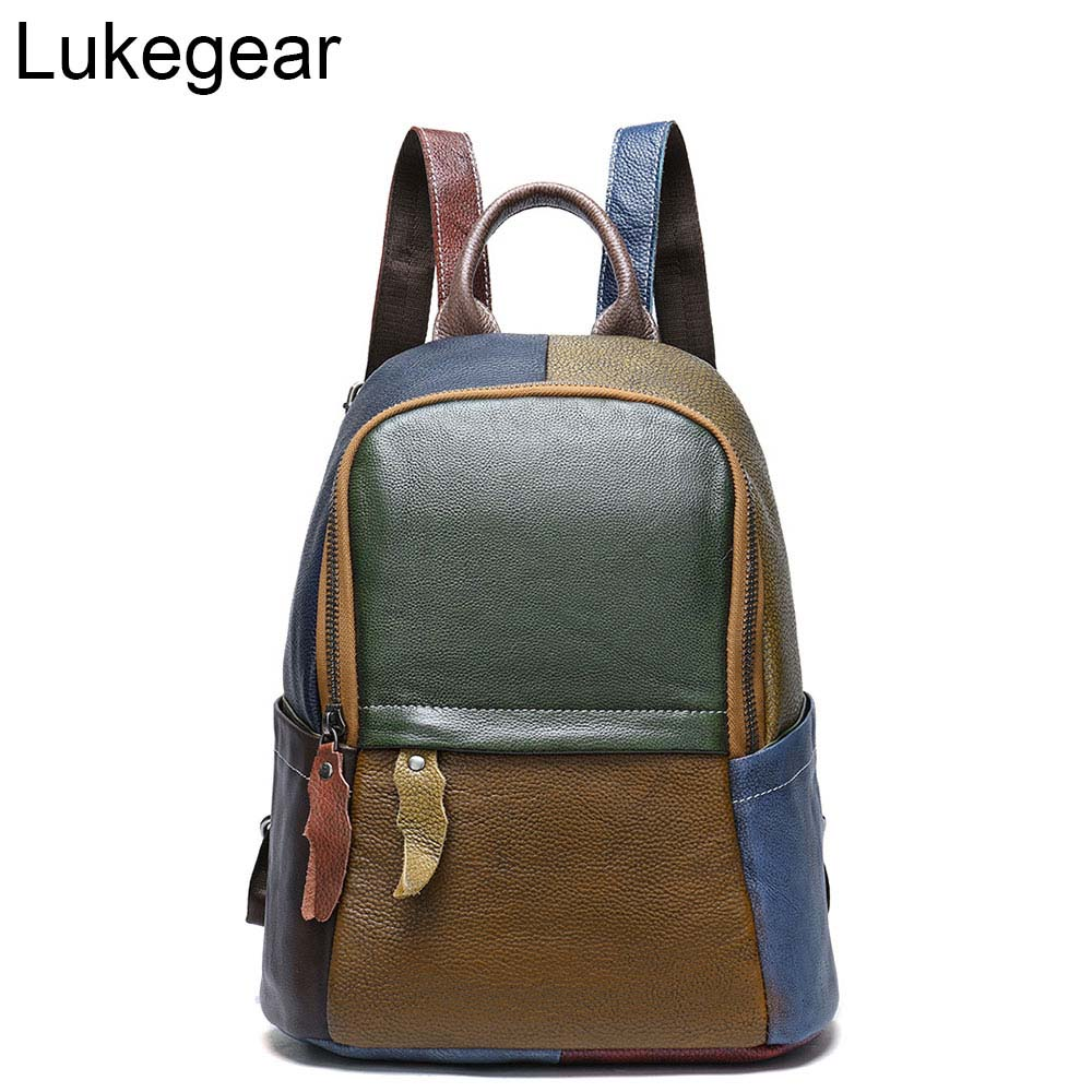 Lukegear <font><b>Genuine</b></font> <font><b>Leather</b></font> <font><b>Backpack</b></font> <font><b>Unisex</b></font> Patchwork Backbags Fashion Purse School Bags Vintage Style Durable Design image