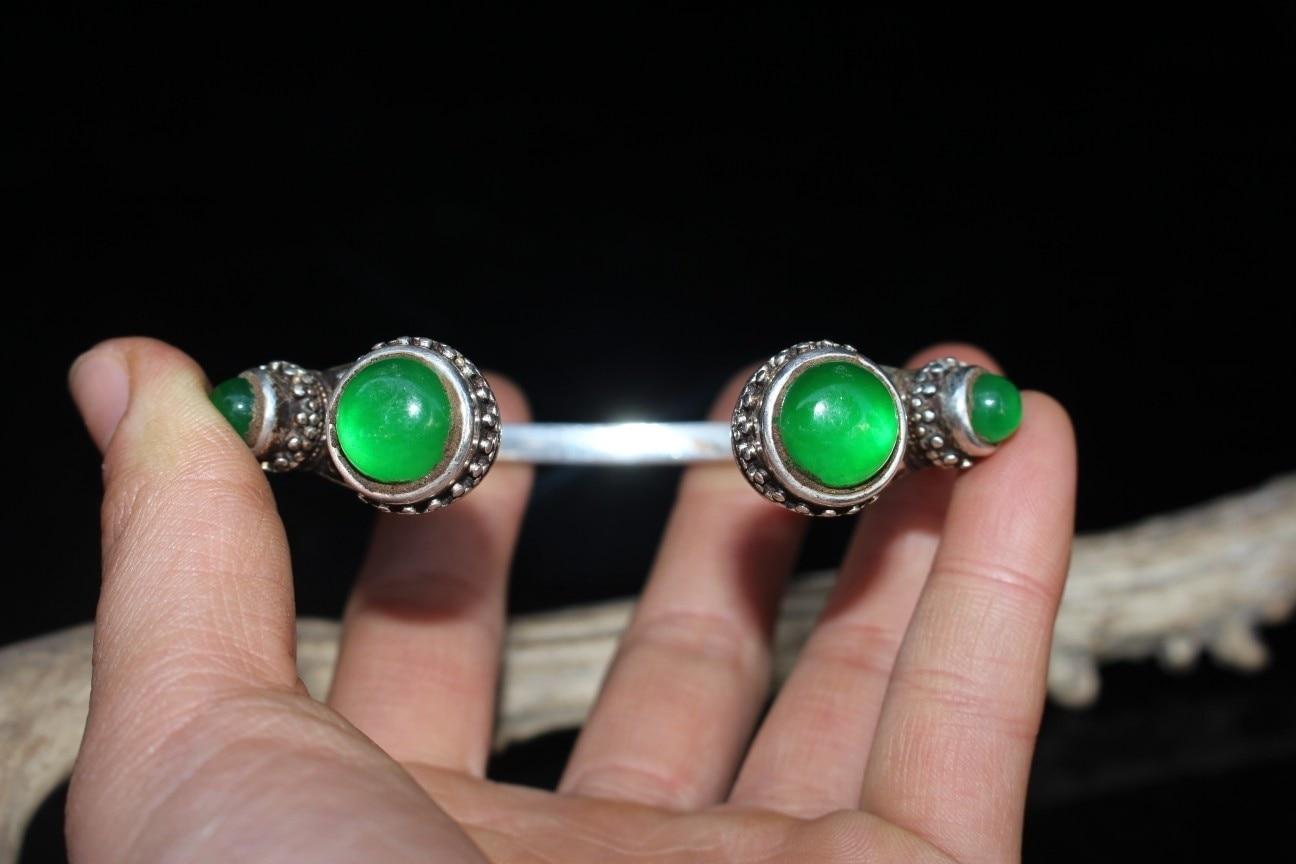 Chinês antigo ofício antigo tibetano prata incrustada gelo jade pulseira