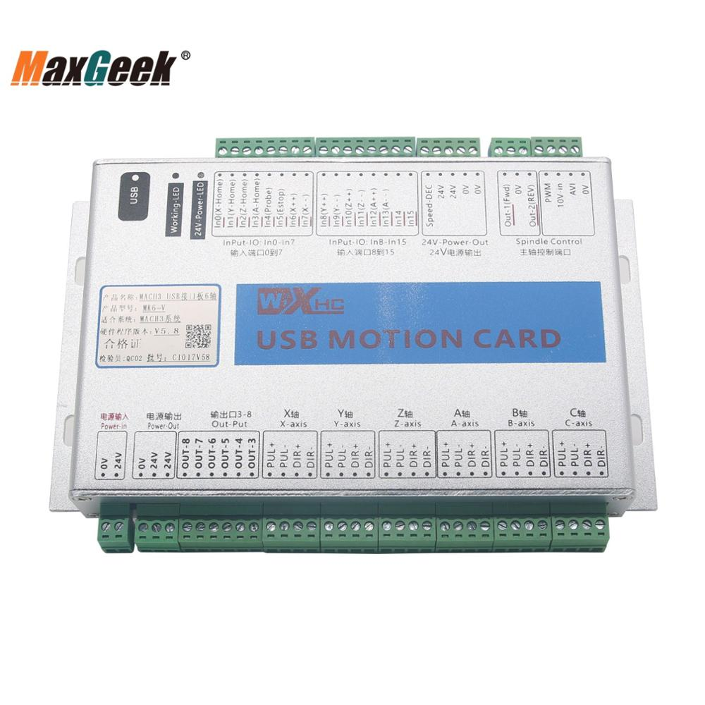 Maxgeek Upgrade CNC Mach3 USB Maxgeek 3/4/6 Axis плата управления движением Breakout Board 2 МГц плата драйвера для гравировального станка с ЧПУ