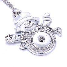 цена на New Christmas Tree Snap Jewelry Vintage Metal Snowman Deer Snowflake 18mm Snap Button Necklace For Women Snap Pendant Necklace