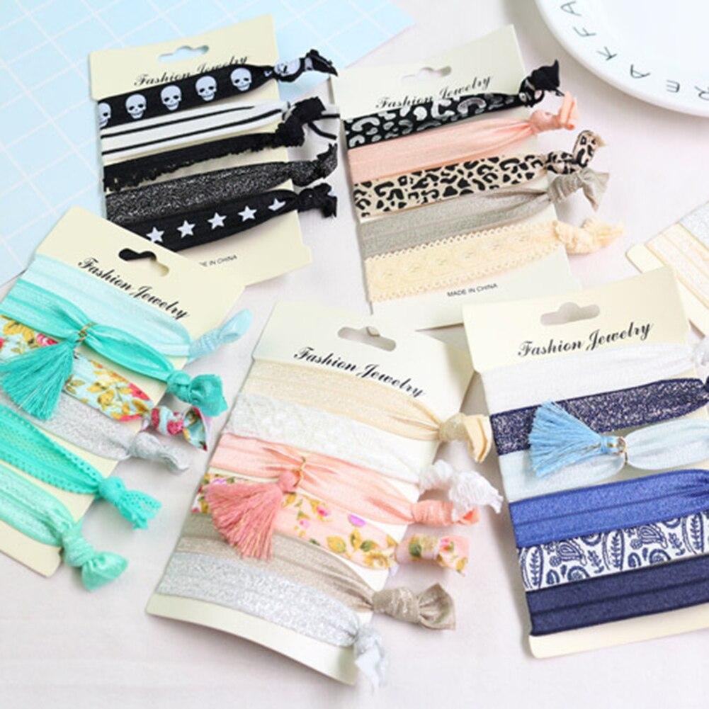 6 Pcs/Set Fashion New 2018 Women Printed Lace Flat Stars Hair Ties Elastic Hair Bands Accessories Korean Style Female