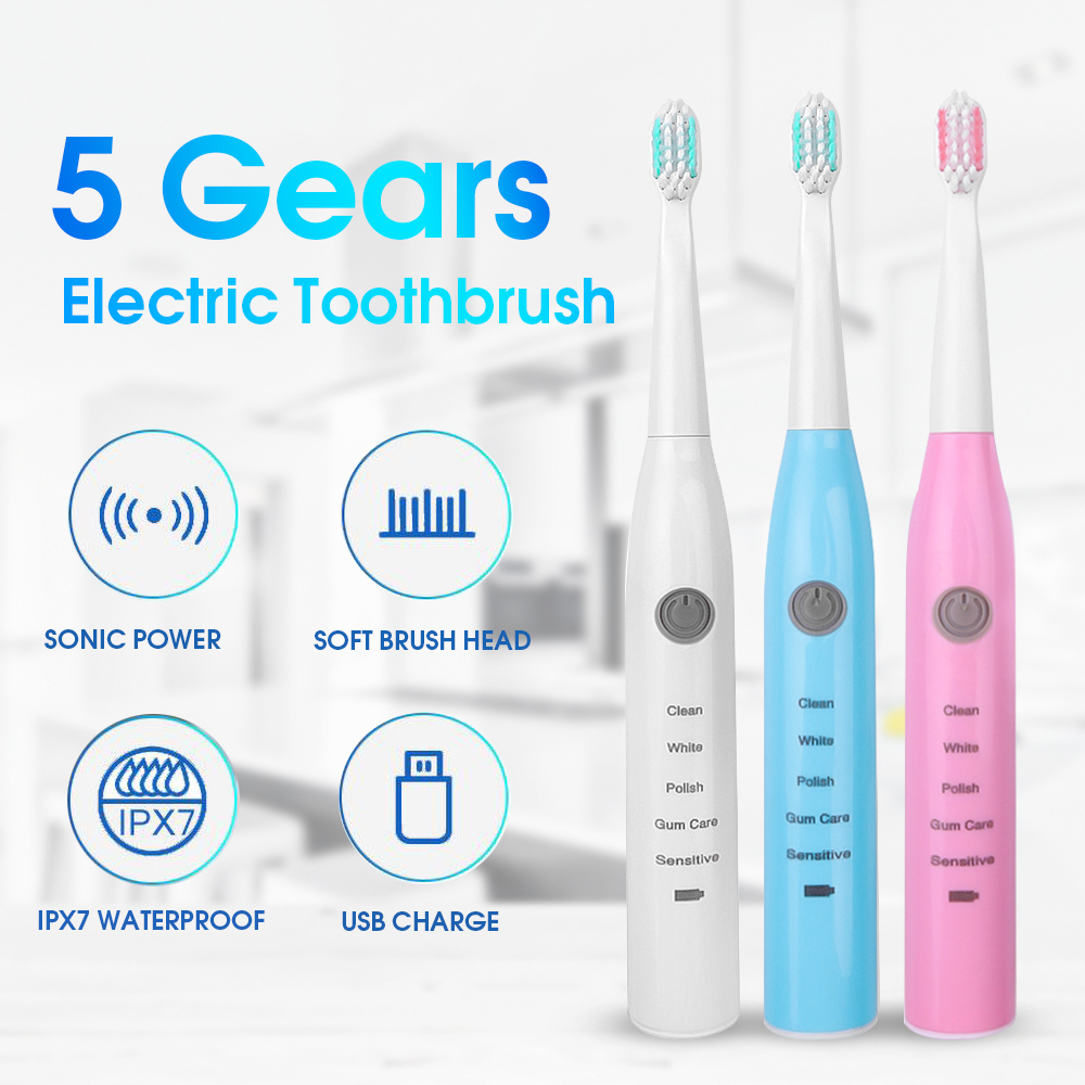 Multiple Colours Ultrasonic Sonic Electric Toothbrush USB Charge Rechargeable Washable Electronic Whitening Teeth Brush Dropship