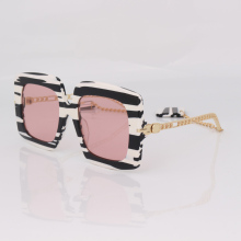 square frame pink lens sunglasses women chain style with Marble Interlocking charms