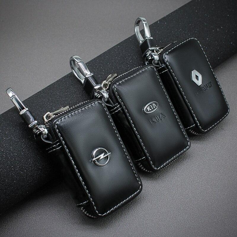 Véritable cuir porte-clés clé organisateur pochette fendu voiture clé sac portefeuille femme de ménage clé étui carte sac pour BMW Audi Kia Ford Suzuki