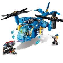 318 pcs Enlighten Assembling Building Blocks Technology Era Scull Helicopter Gunship Bricks Toy Boy Legoingly Christmas Gift