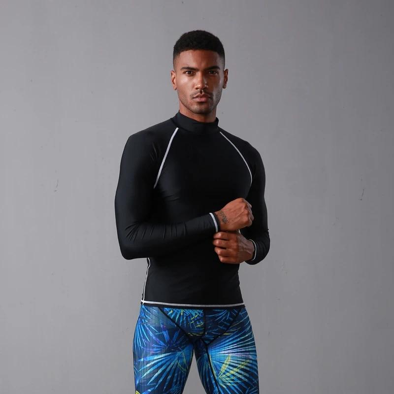 SBART Long Sleeve Rash Guard Men Shirt Swimwear Diving Swimsuit Surfing Tops