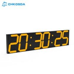 Chkosda exibição de grandes dimensões relógio para biblioteca empresa ginásio clube 24/12 display de temperatura e outros relógio multifuncional