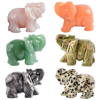 2 inch Crystal Elephant Figurines Craft Carved Natural Stone mineral Mini Animals Statue for Home Decor Chakra Healing 1