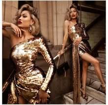 Модное женское платье с золотыми блестками шикарное сексуальное
