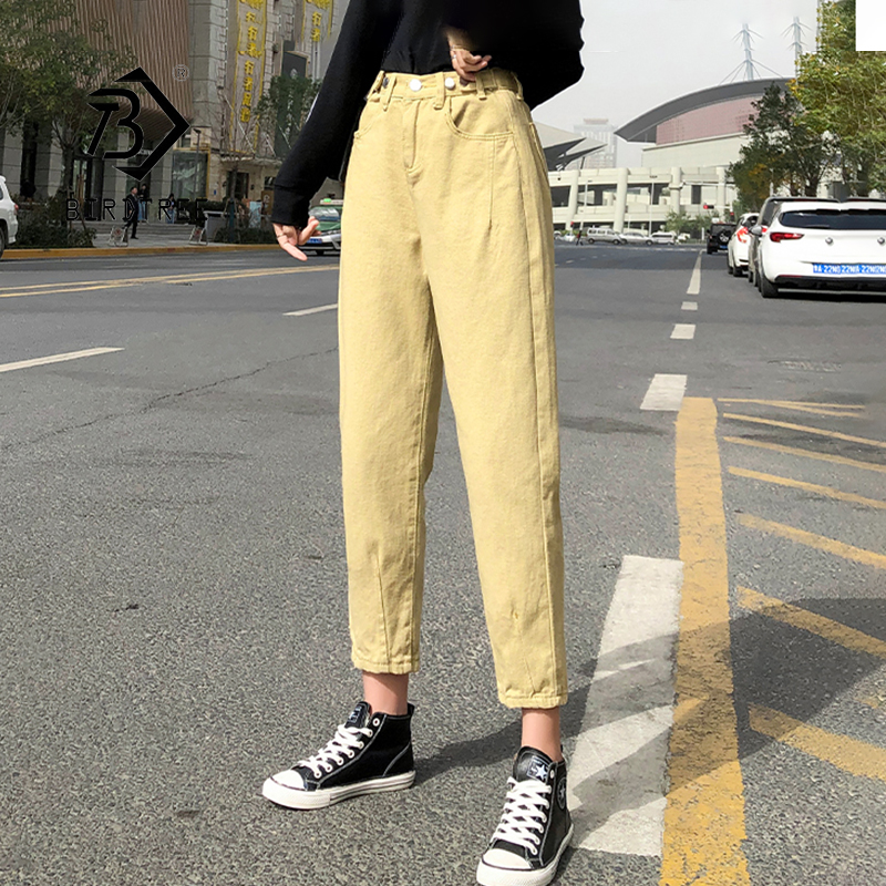 2020 Spring New Vintage High Waist Slouchy Yellow Cotton Mom Jeans Denim Harem Pants For Women Autumn Casual Ripped Trousers B01