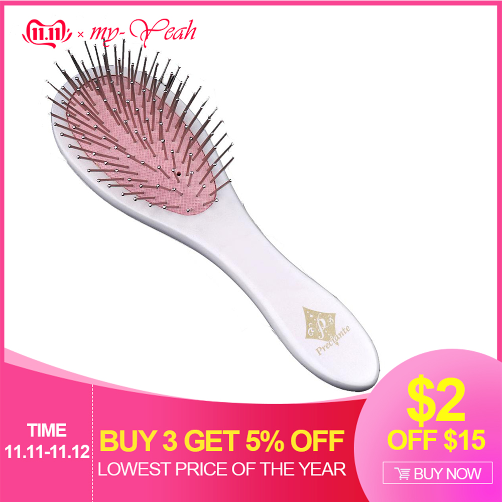 New Metal Hair Brush Wooden Handle Woman Tangle Detangling Straightening Brushes Scalp Massage Comb Hairdressing Hair Care Tool