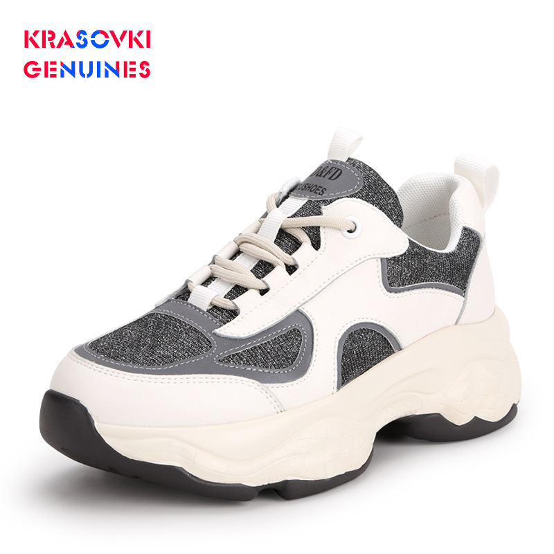 Krasovki Genuines Sneakers Women Autumn Leather Dropshipping Fashion Thick Bottom Cowhide Breathable Lace Leisure Shoes