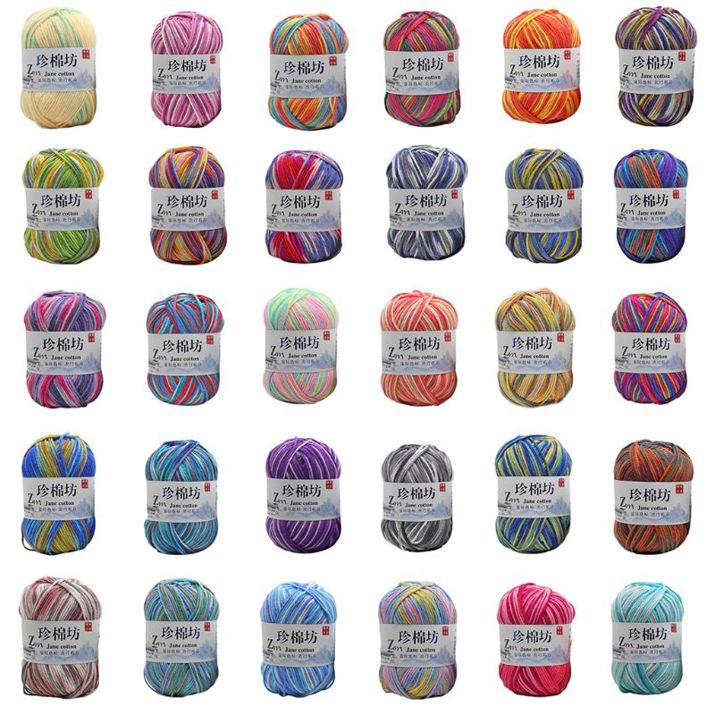 50g/Ball Milk Cotton Hand Knitting Yarn Tie Dyed Ombre Colorful Crochet Thread