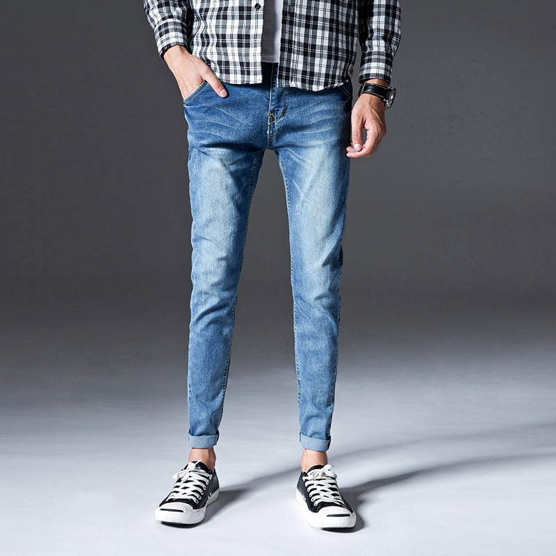 Spring And Autumn New Style Jeans Men Europe And America Workwear Pocket Skinny Cowboy Trousers Teenager Men's Pencil Skinny Pan