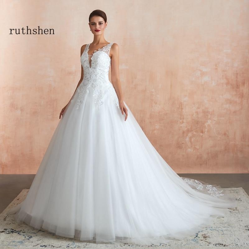 Vintage Wedding Dress 2019 Double Shoulder Robe De Mariee Sequin Lace Tulle Bride Dress In Stock Bridal Gown