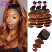 Celie Hair 1B 30 mechones brasileños ondulados con cierre coloreado 3 mechones con mechones extensiones de pelo humano con degradado mechones con cierre