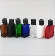 Bouteille en verre de forme carrée de quelques couleurs, couvercle à vis pour e-liquide, huile essentielle, sérum, eau, emballage pour la peau, 30ml