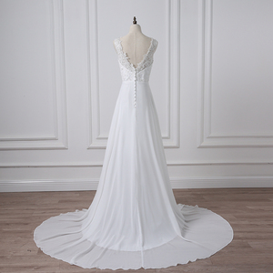 Image 3 - Jiayigong Cheap V neck White/Ivory Wedding Dresses Zipper Back Bridal Gowns Plus Size Vestido De Noiva Real Model Bride Dress