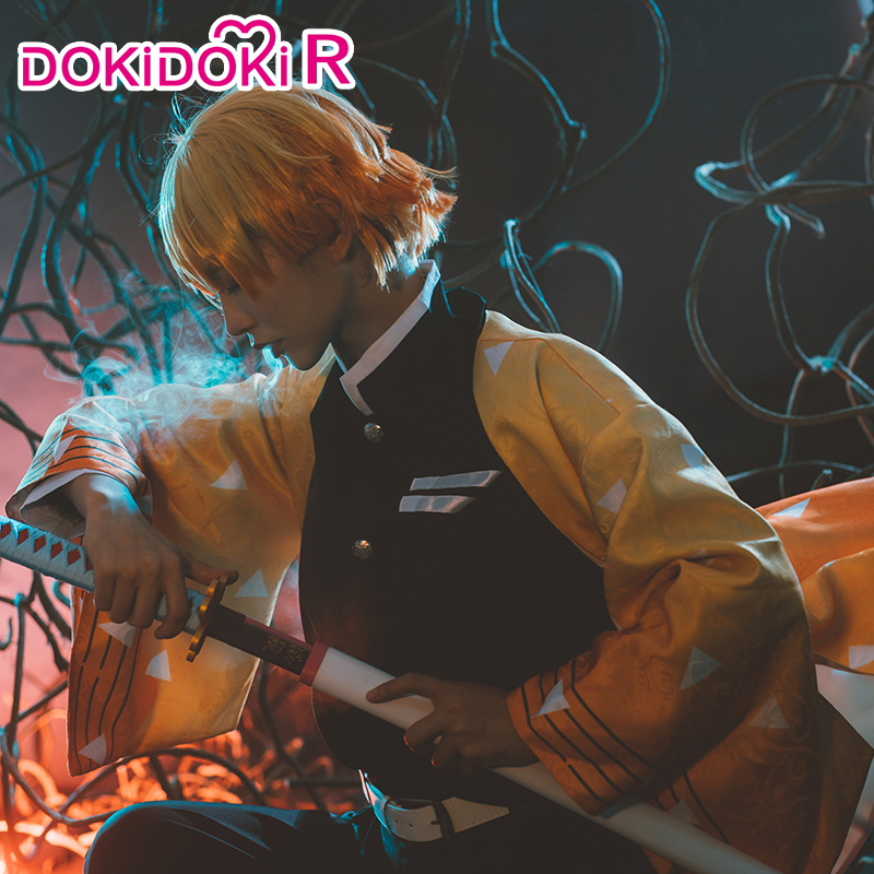 DokiDoki-R Anime Cosplay Demon Slayer: Kimetsu No Yaiba Agatsuma Zenitsu Costume Men Kimono Cosplay Costume Kimetsu No Yaiba