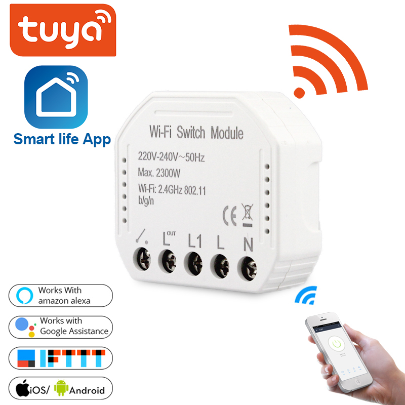 Tuya Wifi Smart Light Switch Diy Breaker Module Smart Life Tuya APP Remote Control Works With Alexa Echo Google Home 1 2 Way
