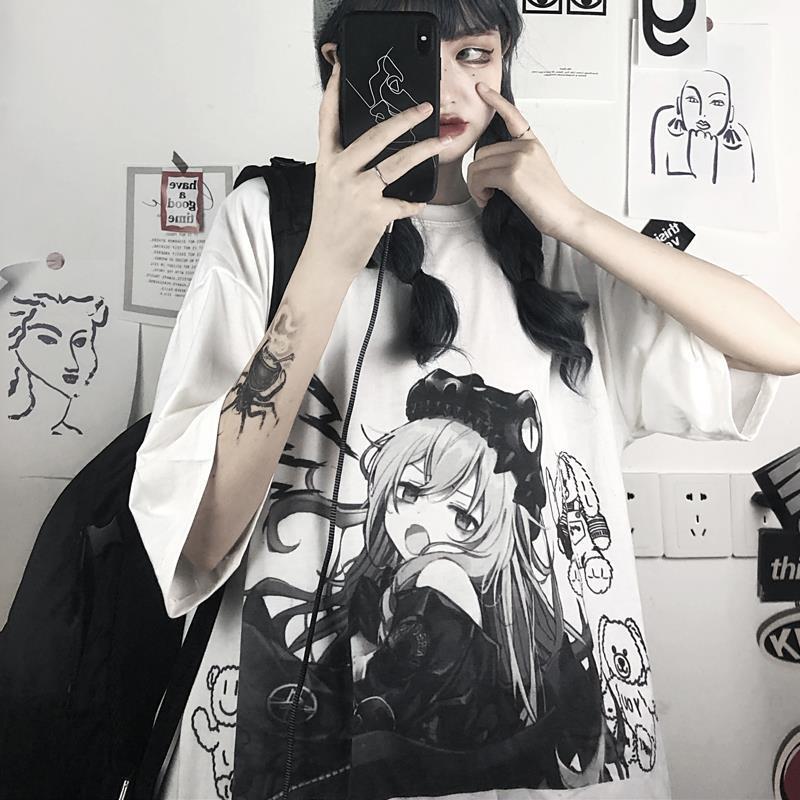 Женская футболка с коротким рукавом, свободная белая футболка с рисунком японского аниме, в Корейском стиле, в стиле панк, в стиле Харадзюку,...