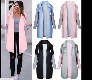2019 Autumn And Winter Fashion Women's Long Matching Color Sweatshirt Coat Female Sweatshirts Women Warm Coat Zipper Long Coats
