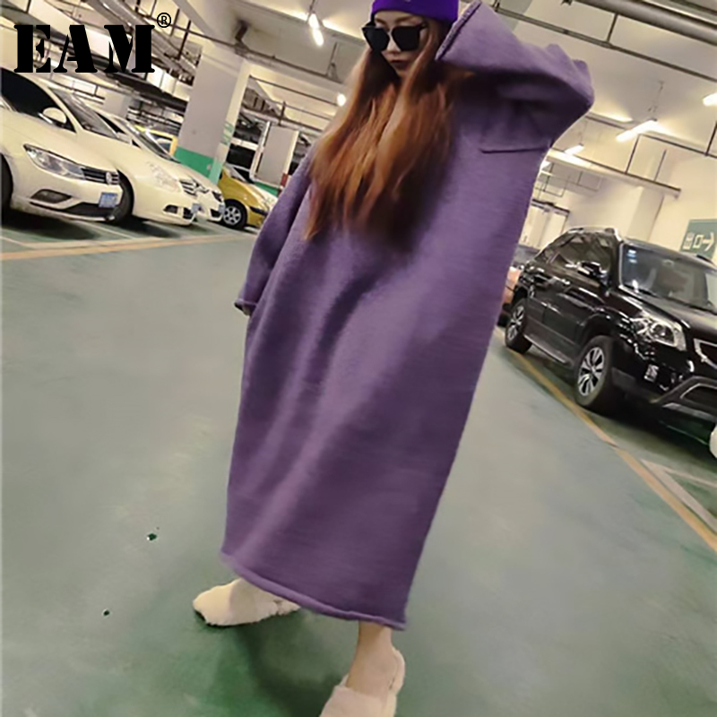 [EAM] Big  Oversize Long Knitting Sweater Loose Fit Round Neck Long Sleeve Women New Fashion Tide Autumn Winter 2019 1B111