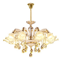 European Crystal Chandelier Zinc Alloy Living Room Hotel Villa Dining Bedroom Study Glass Flower LED Lamps