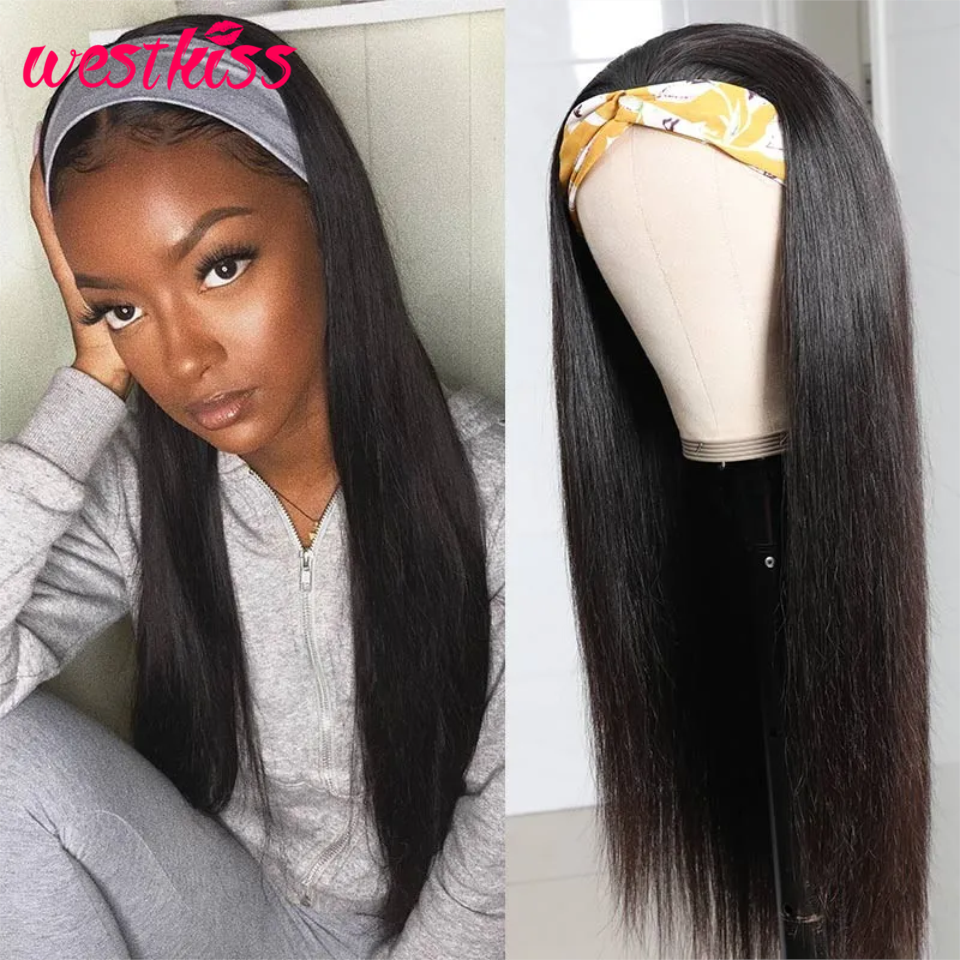 West Kiss Straight Human Headband Hair Wig Brazilian Human Hair Wigs For Black Women Remy Hair Full Machine Made Wig 180 Density