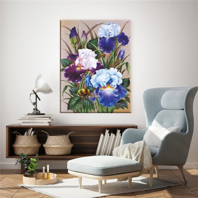 Broderie, fleurs Iris, point de croix 4