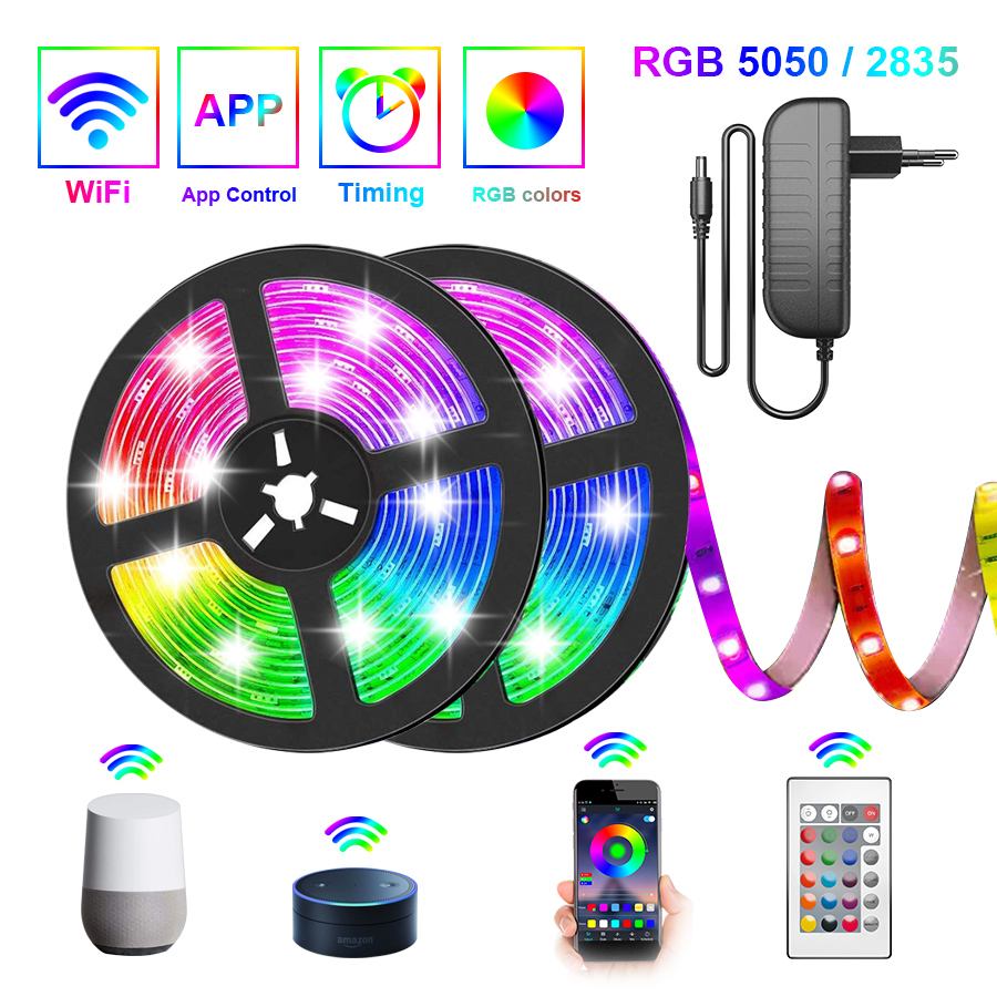 5050 WIFI LED Strip Light 5M-30M 2835 Led lights RGB Flexible Lamp Tape Ribbon Diode Tape With WIFI APP For Alexa adapter+strip