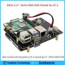Ahududu Pi 4 Model B 2.5 inç SATA HDD/SSD depolama genişletme kartı, x825 USB3.1 mobil sabit Disk modülü ahududu Pi için 4B