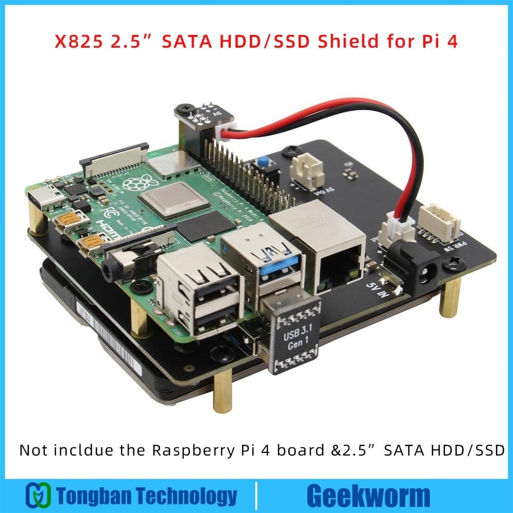 Плата расширения Raspberry Pi 4 Model B, 2,5 дюйма, SATA HDD/SSD, X825 USB3.1, модуль мобильного жесткого диска для Raspberry Pi 4B